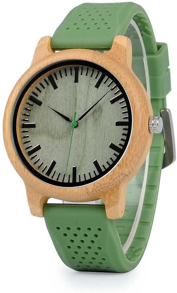 BOBO Bird, reloj de madera de bambú neutro, 44 mm, unisex, cuarzo japonés, correa de silicona, deportiva, casual, con caja de regalo