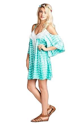 7befe0d4db0e Velzera Women's Tie Dye Cold Shoulder Tunic Mini Dress Boho Chic Reg & Plus  Size (