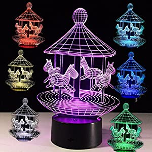 3D Night Light Led 7 Colors Changing Optical Illusion Desk Lamp Home Decor Merry-go-round Playground Kids Nursery Deco Light