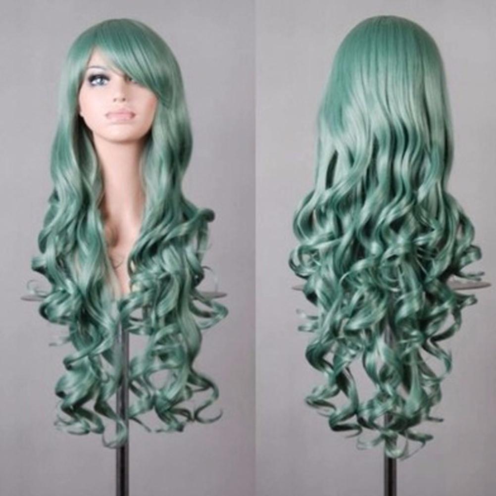 Vanvler Wig Women Long Curly Hair Lady Party Anime Full Wig Cosplay