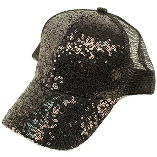 David & Young Everyday Sequins Bling Mesh Trucker Plain Baseball Ball Cap Hat Solid Black ()