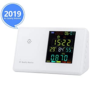Indoor Air Quality Monitor for CO2 PM2.5/PM10 HCHO TVOC Temperature Humidity YVELINES Professional Multifunctional Air Gas Detector with Rechargeable Battery for Home Office Car