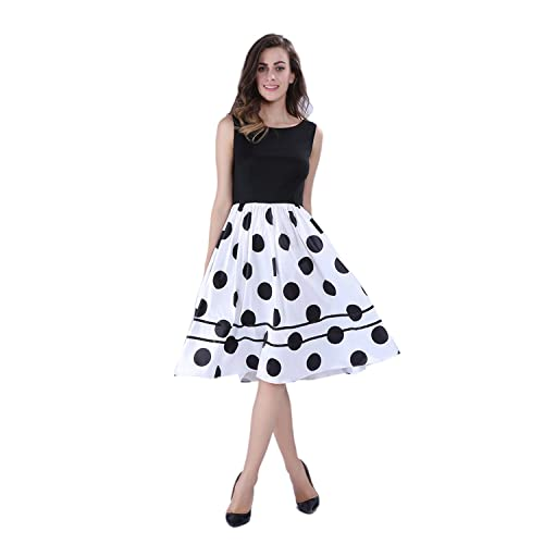 Dressray Women's Elegant Sleeveless Floral Print A-line Midi Princess Dress