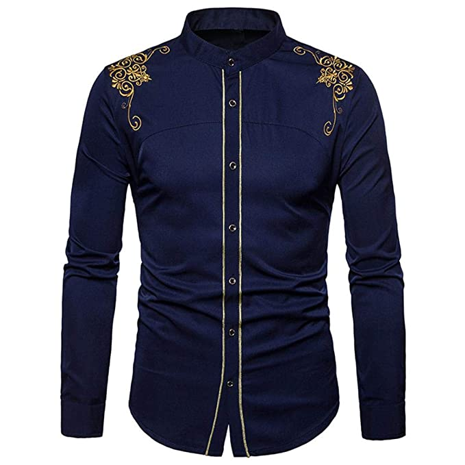 Yvelands Camisa de Bordado de los Hombres, Hombres cómodos Hermosos Solapa Ocasional Hipster Blusa Slim Fit Camiseta Camisas de Vestir de Manga Larga, ...