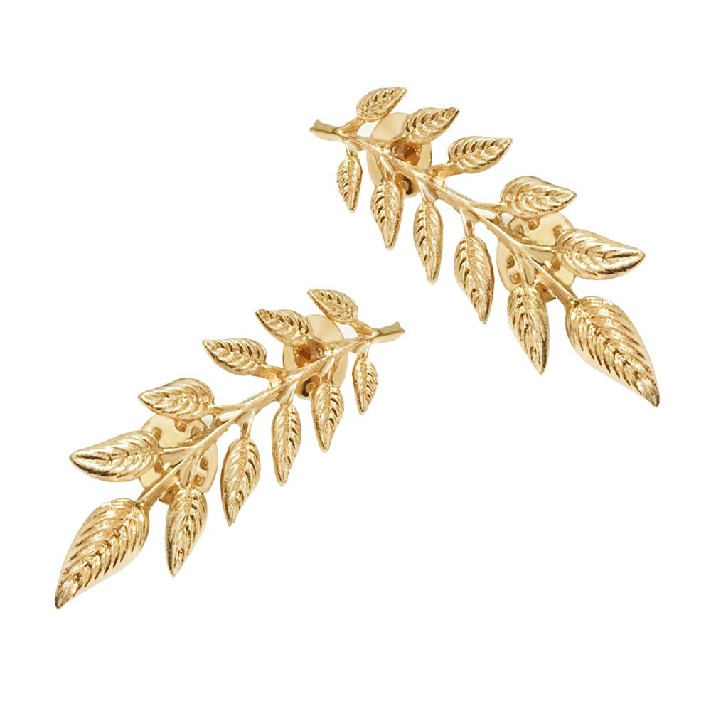 1 Pair Elegant Gold Wheat Leaf Suit Clip Collar Pin Brooch for Unisex star and sea