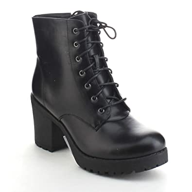 8386ad03054 Refresh Club-02 Women's Lace Up Side Zip Platform Chunky Combat Ankle  Booties