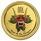 2012 AU Australia 1/20 oz Gold Lunar Dragon BU (SII, Green Color) Gold Brilliant Uncirculated