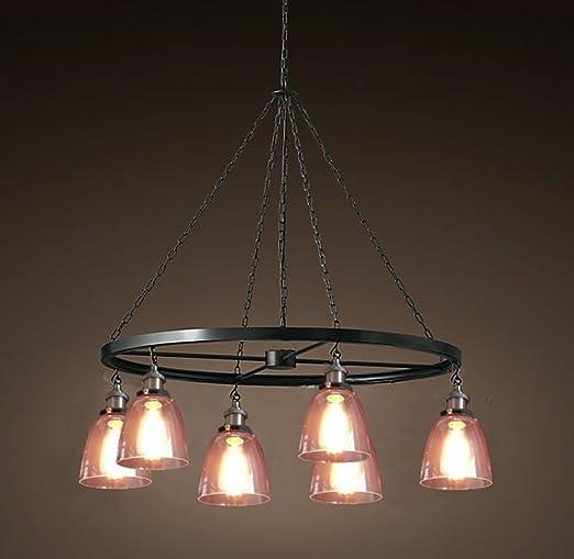 Aiwen Redondo Lámpara de techo de hierro forjado lámpara luz ...
