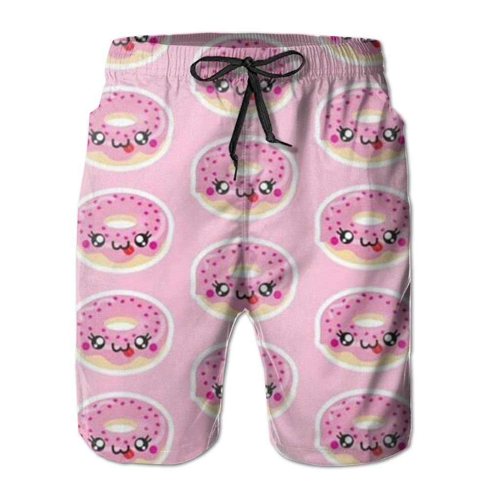YFBJGS Donuts Mens Beach Board Shorts Quick Dry Summer Casual Swimming Soft Fabric with Pocket