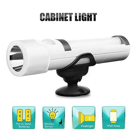 KINGSO lámpara armario – luz LED nocturna aplica detector de movimiento a pilas lámpara de bolsillo