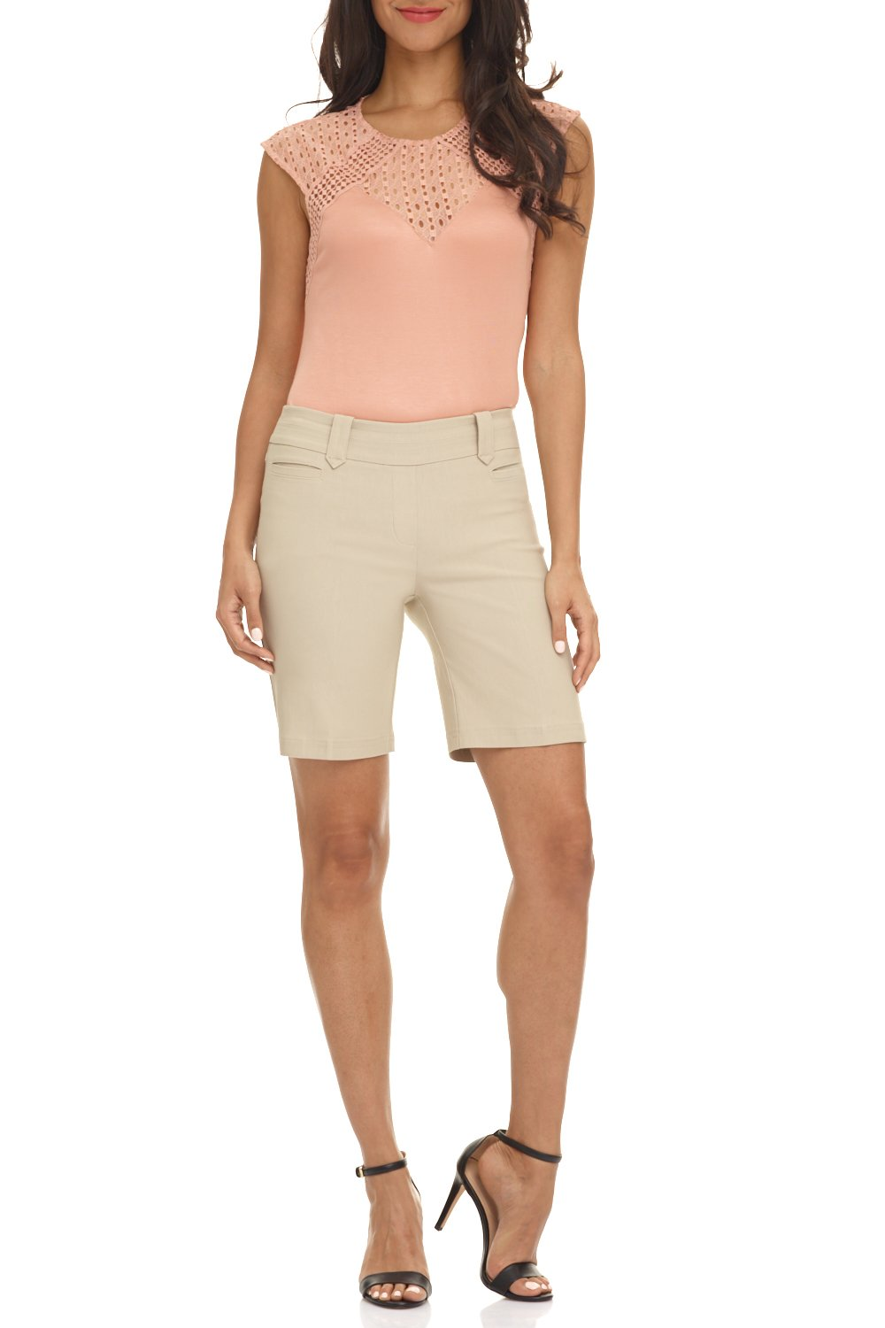 Rekucci Women's Ease in to Comfort Fit Perfection Modern Office Short (18,Stone)