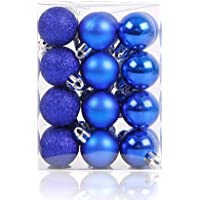 """Alimitopia 24pcs Christmas Ball Baubles,1.18"""" Shatterproof Assorted Colors Mirror Surface Hang Balls Pendant for Xmas Tree Decoration"""