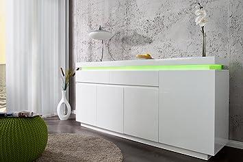 Sideboard weiß hochglanz design  Design Sideboard VENUE Hochglanz weiss 175cm inkl. LED Farbwechsel ...