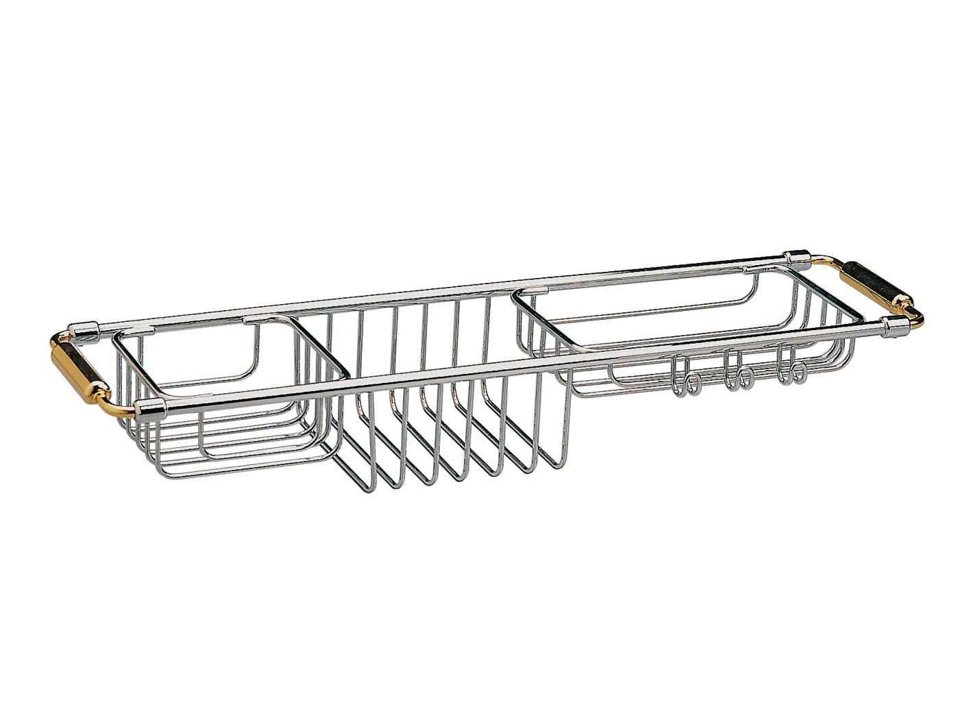 Bathtub Caddy Tray with Extending Sides Tub Tray Holder Rack Bath Storage, Brass (Polished Chrome)