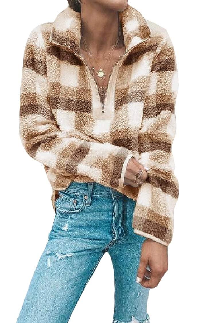 DressUWomen Plaid Zip Lounge Long Sleeve Velvet Stand Collar Pullover Sweatshirt