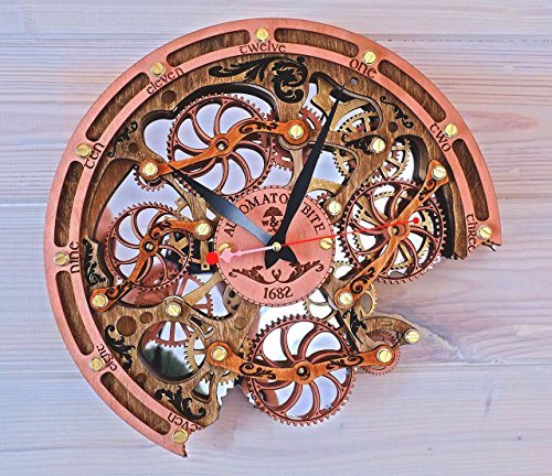 Automaton Bite 1682 HANDCRAFTED moving gears wall clock by WOODANDROOT transparent steampunk wall clock, unique, personalized gifts, anniversary gift, large wall clock, home decor by WOODANDROOT