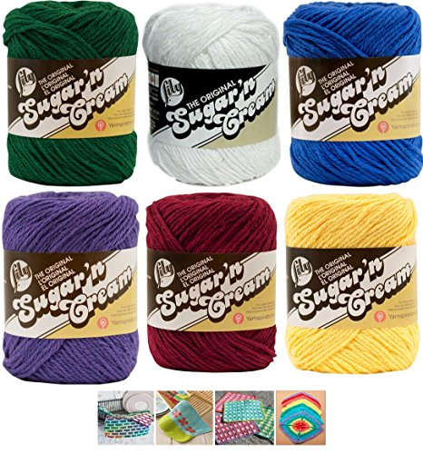 - Variety Assortment Lily Sugar'n Cream Yarn 100 Percent Cotton Solid Color (6-Pack) Medium Number 4 Worsted Bundle with 4 Patterns (Asst 48)