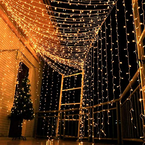 Ever Smart String Lights LED Curtain Lights Twinkle String White Lights 8 Modes New Version Fairy Linkable String Light for Christmas Party Wedding Patio Lawn Garden Decorative Lights (Warm White)