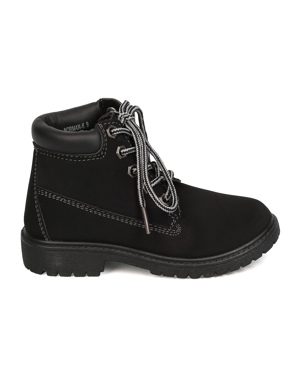 Nubuck Round Toe Lace Up Lug Sole All Weather Ankle Boot (Toddler/Little Girl/Big Girl) FA28 - Black (Size: Toddler 9) by Refresh (Image #2)