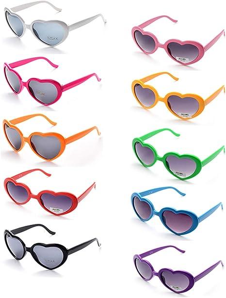 Onnea 10 Piezas Gafas de Sol Fiesta Forma de Corazón para Mujer Hombre