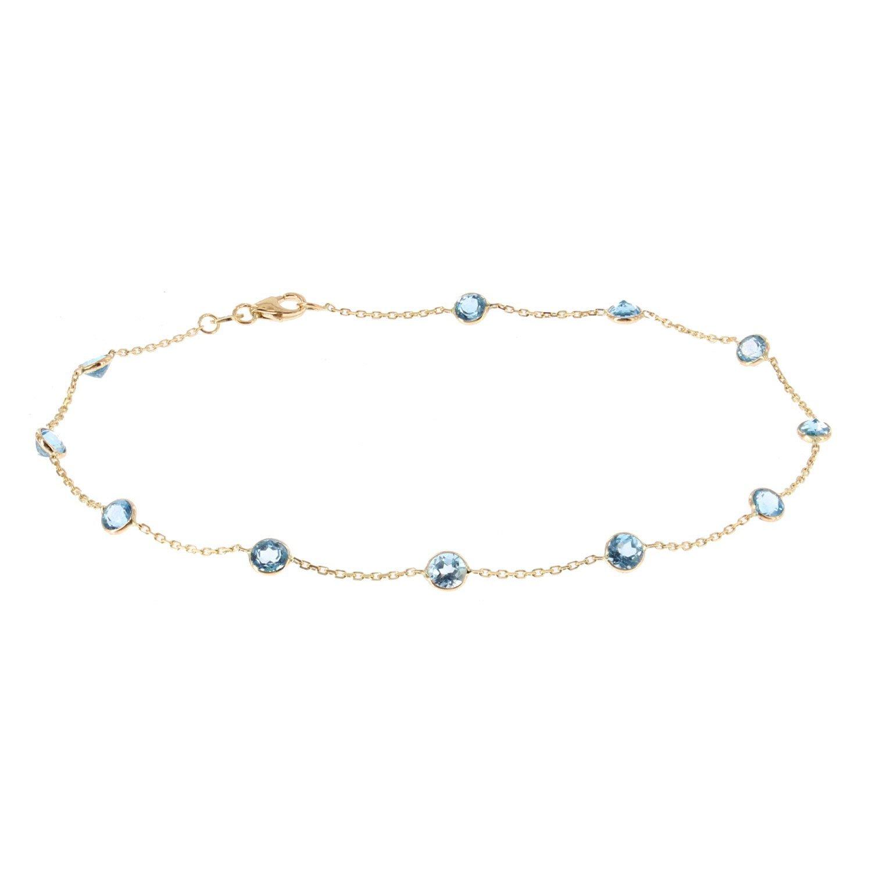 14k Yellow Gold Handmade Station Ankle Bracelet With Round Blue Topaz Gemstones by amazinite