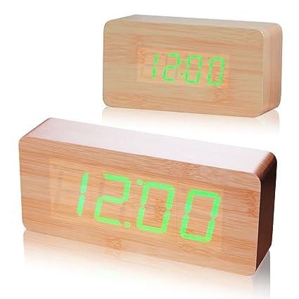 Reloj despertador digital de la oficina de control de voz reloj reloj madera Reloj retro reloj