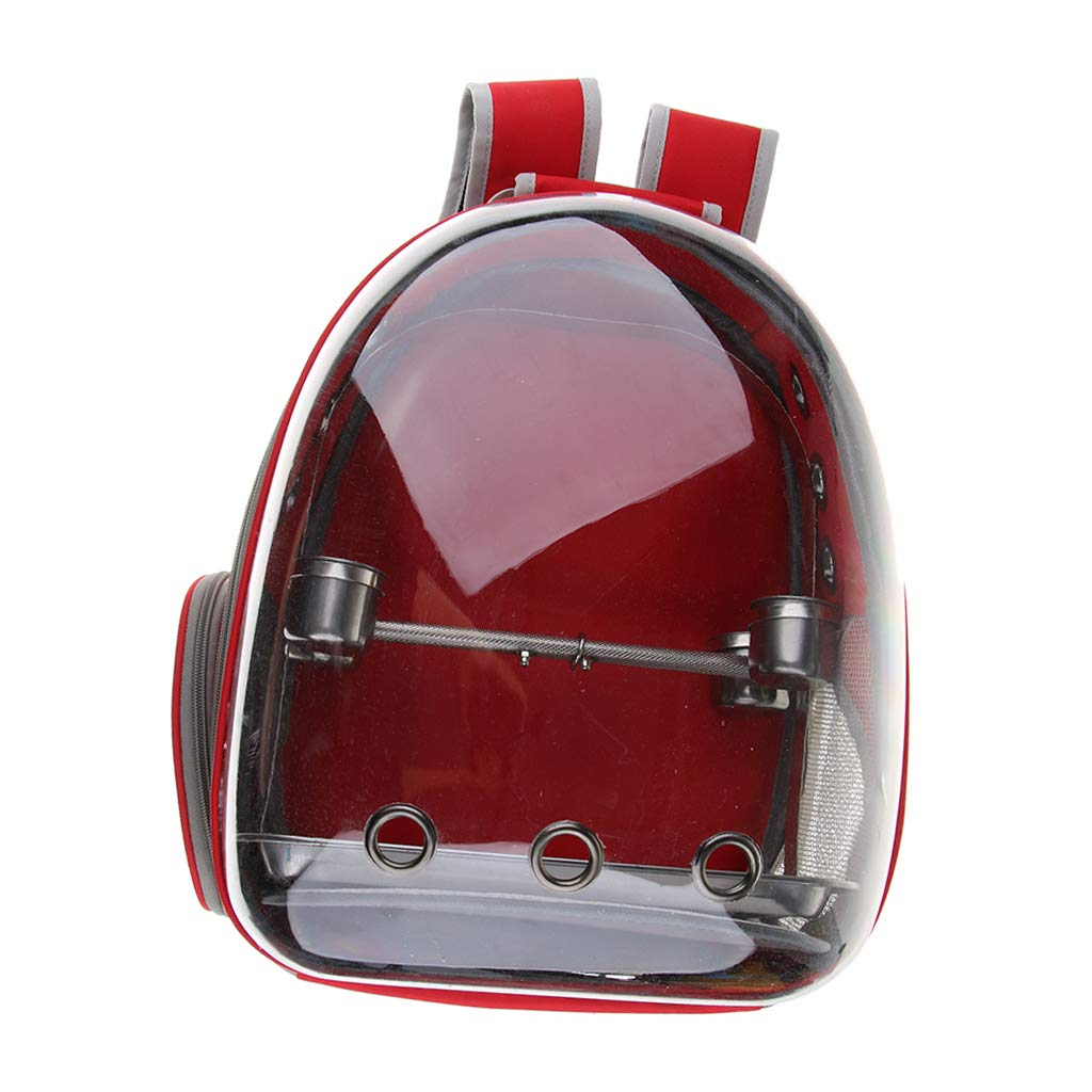Flameer Bird Parrot Outdoor Travel Backpack Carrier with Stand Perch Feeding Cup - Red by Flameer