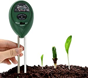 Soil PH Meter, Three-in-one Soil Hygrometer (Which can test soil PH Value, Humidity and Light), Gardening tool kit, Suitable for Gardens, Farms, Lawns, Plants, Indoors and Outdoors (Without Batteries)