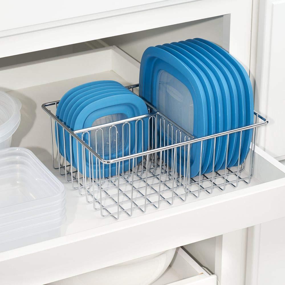 mDesign Organizador de tapaderas - Práctica Cesta de almacenaje con 3 Compartimentos para ordenar Tapas - Moderna Cesta metálica para organizar la despensa ...