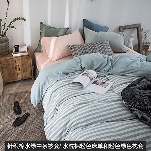 Wholesale Kexinfan Quilt Cover Washed Cotton Four-Piece Set Cotton Cotton Cotton Knit Cotton Bedding Sheets Quilt, Bed, A, 1.5M (5 Feet) Bed free shipping