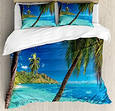Ambesonne Ocean Duvet Cover Set, Image of a Tropical Island with the Palm Trees and Clear Sea Beach Theme Print, Decorative Bedding Set with Pillow Shams, Turquoise Blue