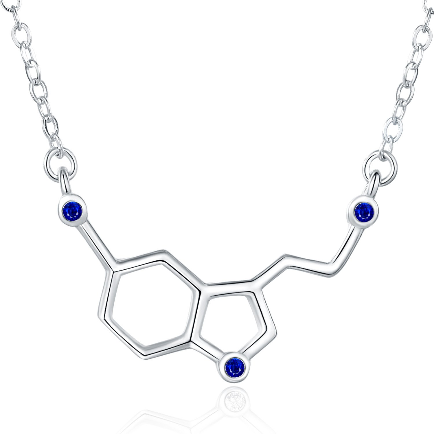 b225e1ead1322 Rosa Vila Happiness Serotonin Molecule Necklace with Gems for Women, Ideal  Necklaces for Teacher, Professor, Chemistry Grad, and Science Jewelry ...