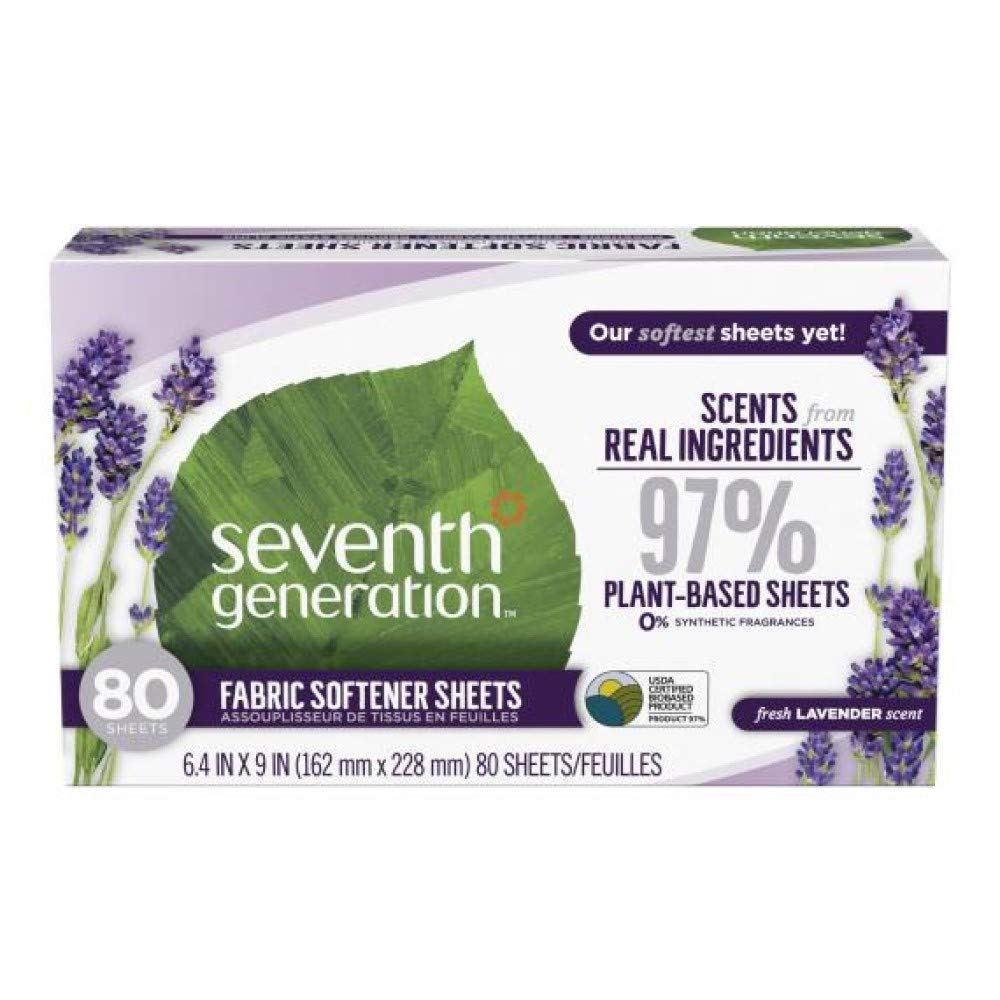 Seventh Generation Fabric Softener Sheets, Lavender, 80 Count 12-Pack by SEVENTH GENERATION