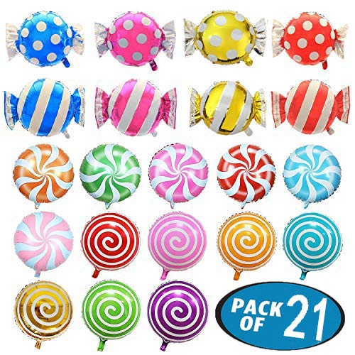 21 Pack Candy Balloons Set, Including 13 Pack Round Lollipop Balloons and 8 Pack Candy Shape Balloons, Candyland Party Decorations, Aluminum Balloons for Birthday Wedding Party -