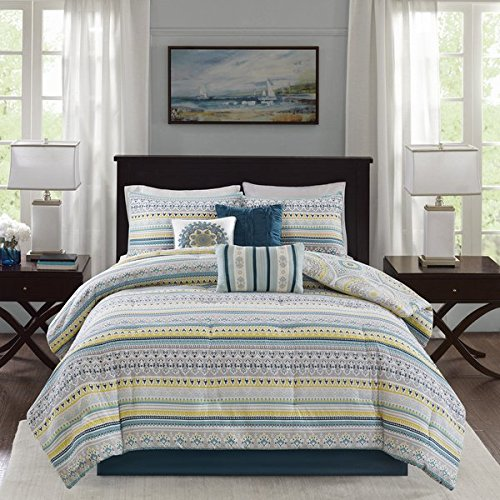 Navy Blue 6-Piece Full/ Queen Reversible Coverlet Set Made From Sateen Cotton with Medallion Pattern and Bed Skirt Included Cross Scented Candle Tart