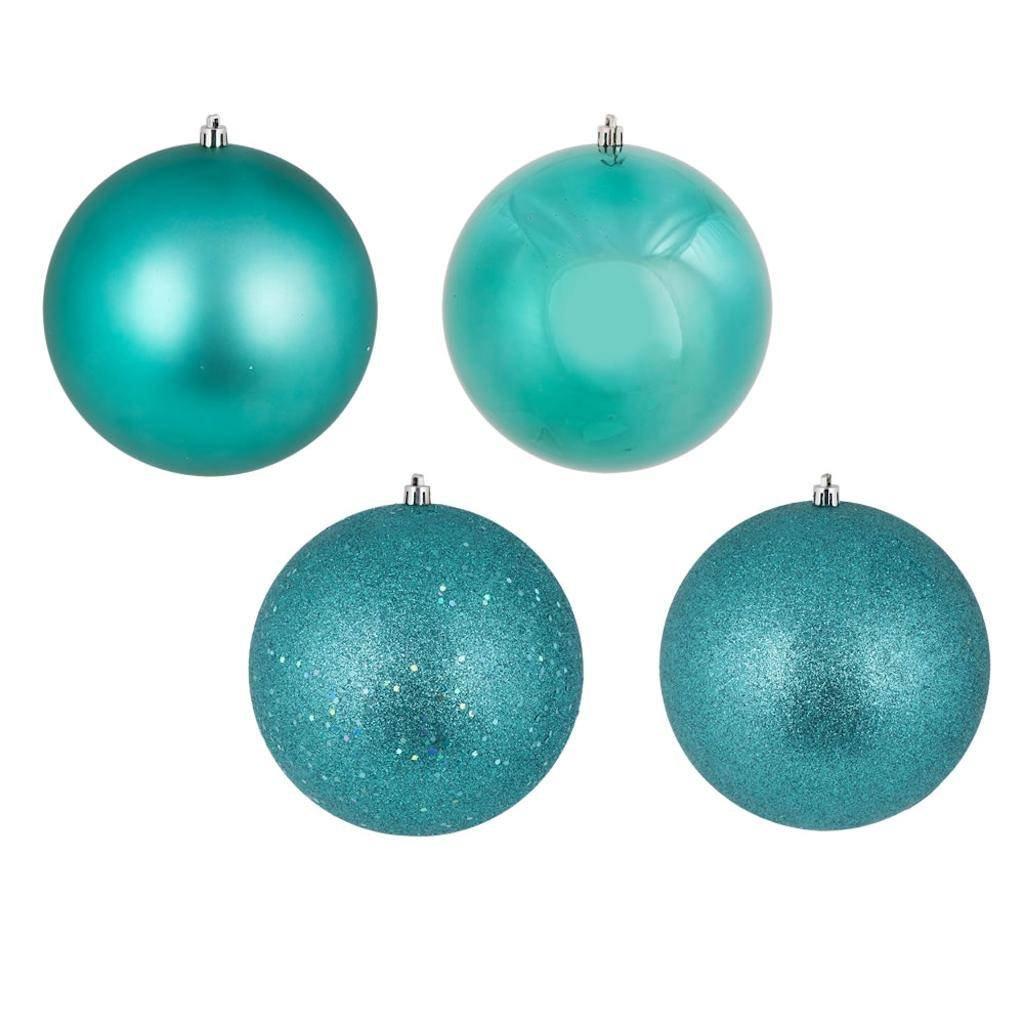 Vickerman 447284-12'' Teal 4 Finish Matte/Shiny/Sequin/Glitter Ball Christmas Tree Ornament (set of 4) (N593042DA)