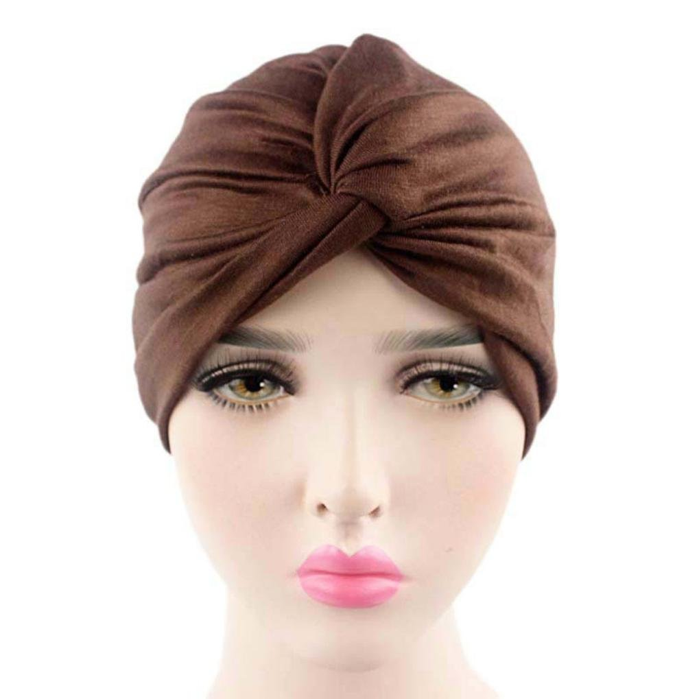 Gotd Women Solid Hat Beanie Scarf Cancer Chemo Turban Head Wrap Cap (Coffee) Goodtrade8