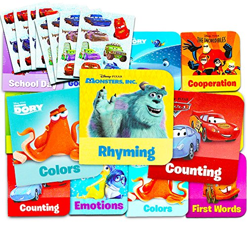 Disney Pixar Board Books Set For Toddlers Babies Kids -- Pack of 12 ''My First'' Books with Stickers (ABCs, 123s, Colors, Friendship and More!) by PI Kids Board Books