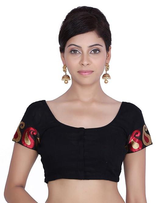 Jaipur Kala Kendra Mujer Negro brocado bordado boda novia Saree Blusa Crop Top jkkcbl14