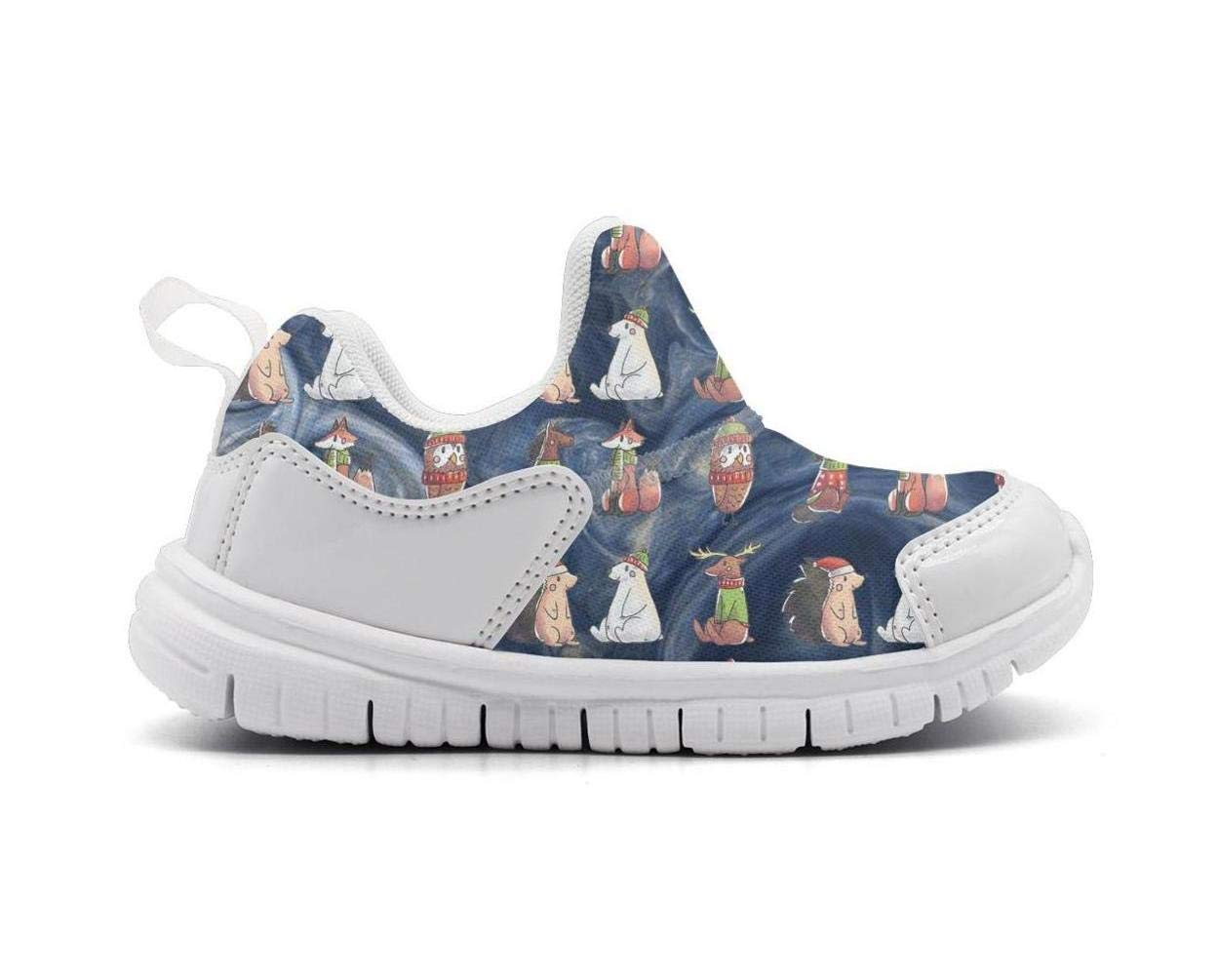 ONEYUAN Children Watercolor Animals Fox Bird Horse bear-01 Kid Casual Lightweight Sport Shoes Sneakers Running Shoes