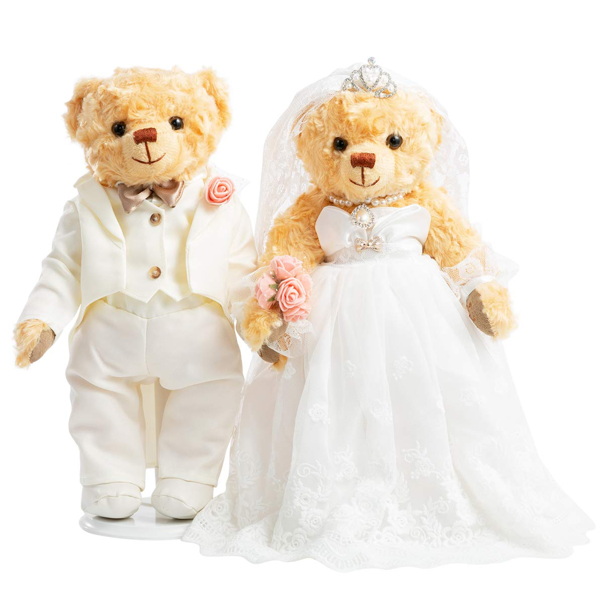 HollyHOME Stuffed Animals Wedding Teddy Bears Plush Bride and Groom Bears Toys Dolls for Wedding Decoration Valentine Birthday Party Gift, Set of 2, White,14 Inch by HollyHOME