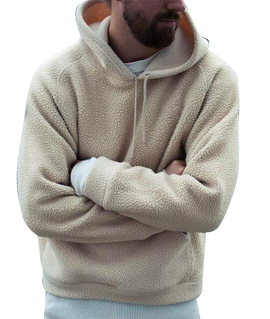 YYG Men Thermal Loose Solid Long Sleeve Hoodie Sweatshirt Polar Fleece Jacket Coat