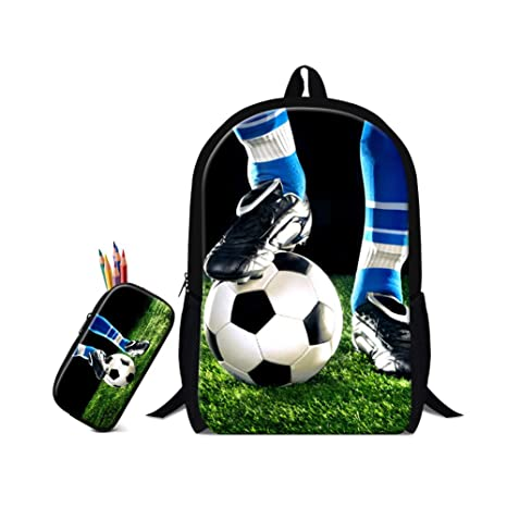 Image Unavailable. Image not available for. Color  ZRENTAO 2Pcs Cute Soccer  Printing Backpack Boys Canvas Backpacks Childrens School Bags For Teenagers  ... 150f485a41bd6