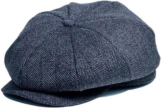 para Hombre Gris Grey Herringbone Gorra de Peaky Blinders Sombrero de Espiga para Hombre Tweed Plano Gatsby IBFUN Boina