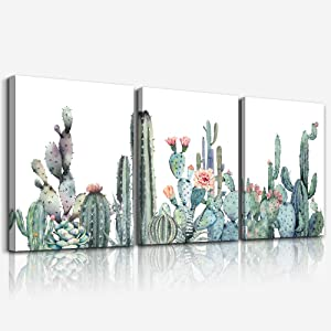 "Canvas Wall Art for bedroom living room Canvas Prints Artwork bathroom Wall Decor Green plants Succulent cactus flower painting 12"" x 16"" 3 Pieces modern Framed Ready to hang Office Home Decorations"