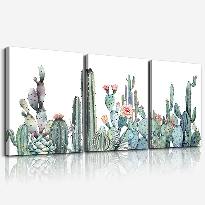 """Canvas Wall Art for bedroom living room Canvas Prints Artwork bathroom Wall Decor Green plants Succulent cactus flower painting 12"""" x 16"""" 3 Pieces modern Framed Ready to hang Office Home Decorations"""