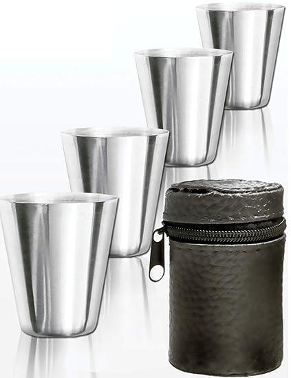 Outdoor saxx® – Juego de 5 piezas acero inoxidable – Juego de vasos de | disfrutar de diversión de Juego, Whiskey hierbas de chupito | Crédito regalo, ...