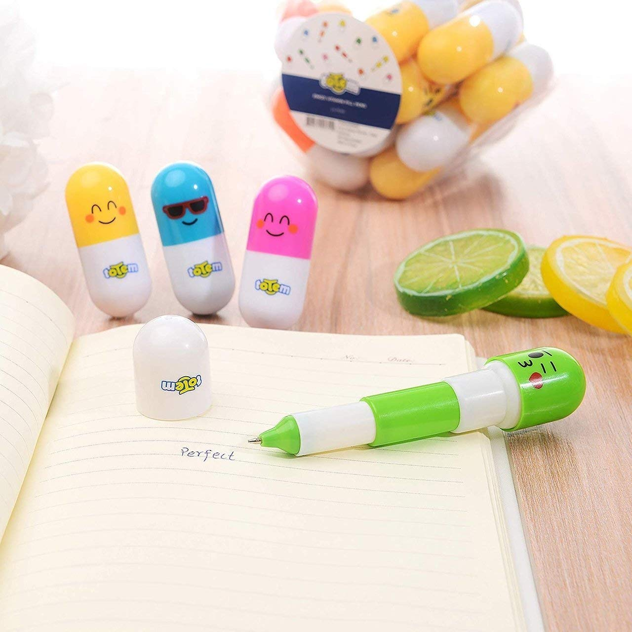 Totem World 48 Emoji Vitamin Pill Retractable Ballpoint Capsule Pen with Cute Yellow Emoticon Faces