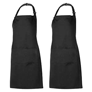 Xornis 2 Pack Adjustable Bib Apron with 2 Pockets Liquid Drop Waterdrop Resistant Cooking Kitchen Restaurant Bar Apron Black Aprons Chef Apron Unisex Aprons for Women Men
