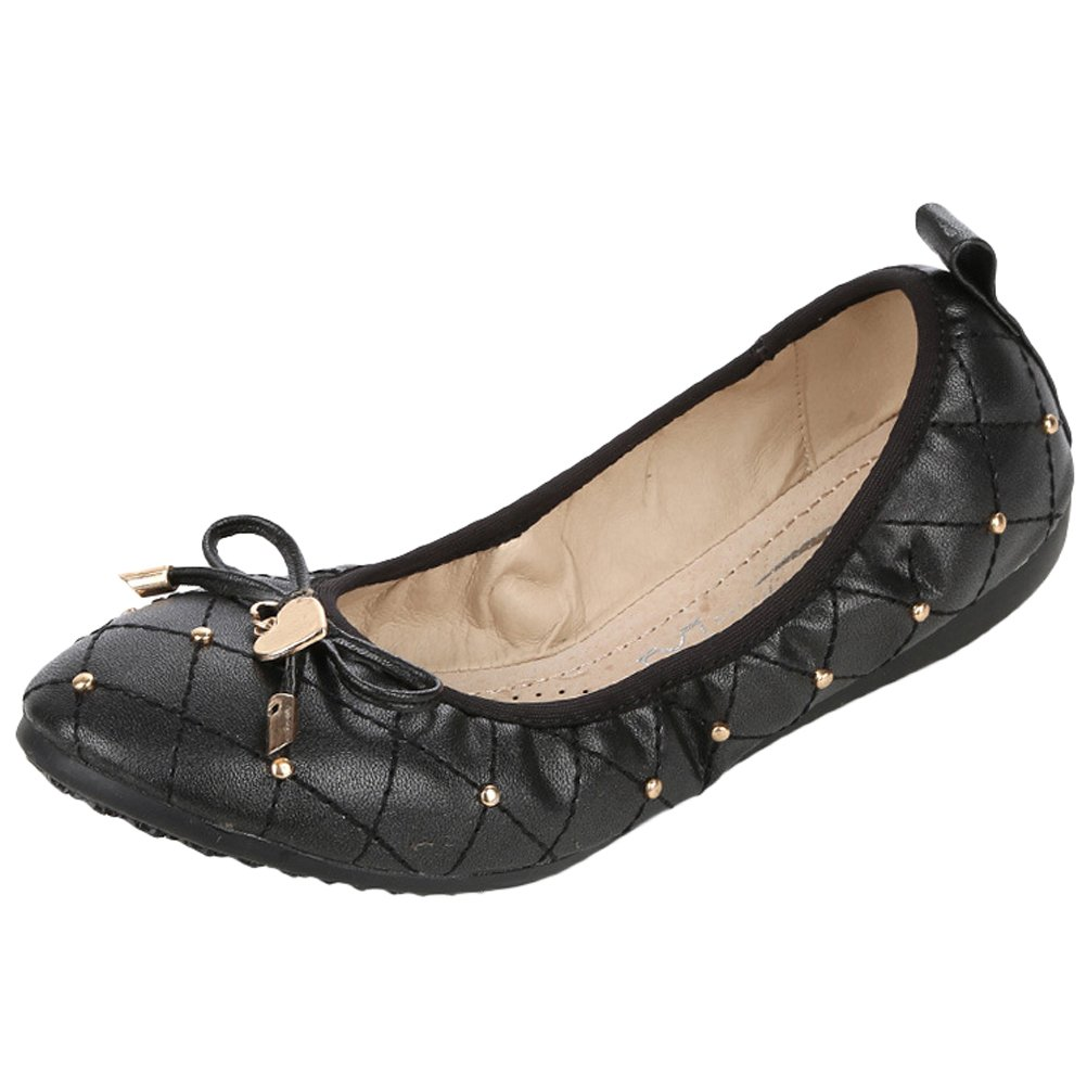 Minibee Women's Casual Foldable Portable Travel Ballet Flat Shoes Black CH39/US 7.5